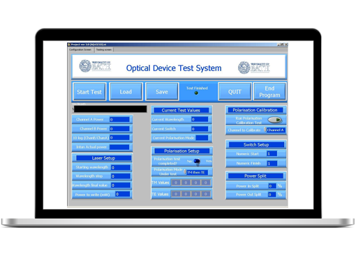 Optical Device Test System User Interface in LabVIEW