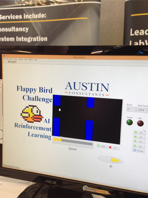 Computer powered by LabVIEW plays Flappy Birds Game - Artificial Intelligence - NI Days 2014 Demo - Austin Consultants
